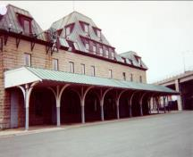 General view of the rear elevation of the Newfoundland Railway Headquarters National Historic Site of Canada terminus building, 1997.; Public Works and Government Services Canada / Travaux publics et Services gouvernementaux Canada, 1997.