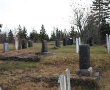 The Old Seal Cove Cemetery has terraced lots to level some of the family plots, as the cemetery is build on very unlevel ground.; Grand Manan Historical Society