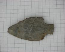 Fluted point artifact found at Debert, N.S.; Courtesy of the Confederacy of Mainland Mi'kmaq, 2007.