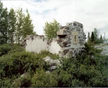 Primary elevation, of the Powder Magazine Remains, Norway House, ca. 1985; Historic Resources Branch, Manitoba Culture, Heritage and Tourism, 1985