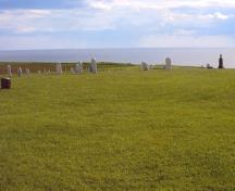 Cemetery and Northumberland Strait in background; PEI Genealogical Society, George Sanborn Jr., 2009