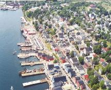 Old Town Lunenburg, aerial view from the east, 2001; Town of Lunenburg, P. MacDonald, 2001