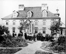 Front Facade of St. Michael's Convent, St. John's, showing Bishop Thomas Power on his first visit to Belvedere on or about Sept. 9, 1870, the day of his arrival in Newfoundland.  ; HFNL 2005