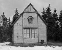 Front elevation, Cape Negro Hall, Cape Negro, N.S.; Heritage Division, NS Dept. of Tourism, Culture and Heritage, 2010