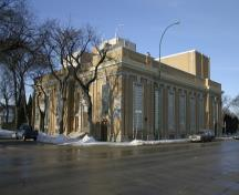View of the main elevations from the southeast of the Ukrainian Labor Temple, Winnipeg, from the southeast, 2005; Historic Resources Branch, Manitoba Culture, Heritage and Tourism, 2005