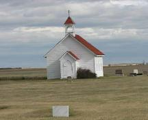 Looking east at the front of the church, 2009.; Government of Saskatchewan, Marvin Thomas, 2009.