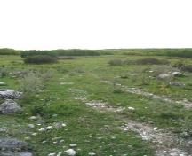 View of meadows, woods and stoney ground that characterize the landscape at Fort Livingstone, 2004.; Government of Saskatchewan, Marvin Thomas, 2004.