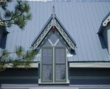 This photograph shows the Gothic dormer with drop pendant and finial, 2009; Town of St. Andrews