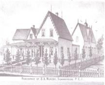 Muncey residence on the site burned down in 1885; Meacham's Illustrated Historical Atlas of PEI, 1880