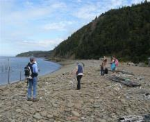 This view of Indian Beach looking north is not seen by many. The only access is by hiking a challenging trail.  The cottage on the seawall is made from the stones of the seawall.; Larry Small 2009