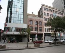 Contextual view, from the southwest, of the Hample Building, Winnipeg, 2009; Historic Resources Branch, Manitoba Culture, Heritage and Tourism, 2009