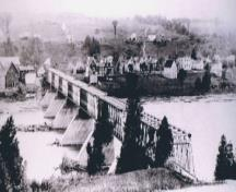 The Hartland Bridge opened 19 years before it was covered in 1920. It was covered to protect the structural trusses from the natural elements. This was done at the same time that two spans were replaced.; Doris E. Kennedy