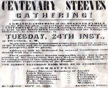 An invitation to all Steeves to a party celebrating the centennial of the arrival of the Steeves family. It was held on the lawns of the Christian Steeves House on September 24, 1867.; Village of Hillsborough, from William Henry Steeves House archives
