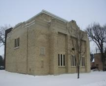 Primary elevations, from the southwest, of the Women's Tribute Memorial Lodge, Winnipeg, 2007; Historic Resources Branch, Manitoba Culture, Heritage and Tourism, 2007