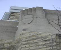 Corner detail of the Women's Tribute Memorial Lodge, Winnipeg, 2007; Historic Resources Branch, Manitoba Culture, Heritage and Tourism, 2007