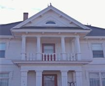 Detail of pedimented dormer over balcony; Alberton Historical Preservation Foundation, 2009