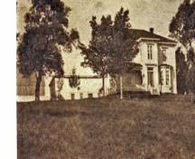 Image of the estate looking west from Main Street circa 1900. The manor house looks out over the village of Surrey.; Village of Hillsborough, William Henry Steeves House Museum archives