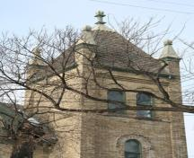 Tower detail of the Scandinavian Mission Church, Winnipeg, 2007; Historic Resources Branch, Manitoba Culture, Heritage and Tourism, 2005