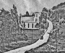 Route 114 dropping down past the Valley Baptist Church ; Village of Hillsborough, William Henry Steeves House Museum archives