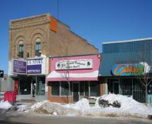 Oblique view, from the southeast, of Hill's Drug Store, Portage la Prairie, 2009; Historic Resources Branch, Manitoba Culture, Heritage and Tourism, 2009