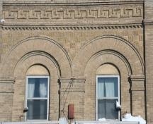 Brick detail work on Hill's Drug Store, Portage la Prairie, 2009; Historic Resources Branch, Manitoba Culture, Heritage and Tourism, 2009