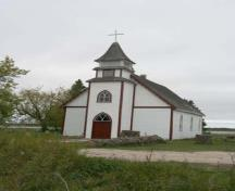 Primary elevation, from the south, of Christ Anglican Church, Sagkeeng First Nation, 2009; Historic Resources Branch, Manitoba Culture, Heritage and Tourism, 2009
