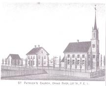 Engraving of church before W.C. Harris changes; Meacham's Illustrated Historical Atlas of PEI, 1880