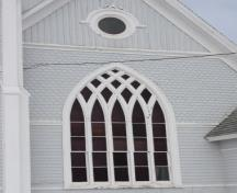 Detail of Gothic window and exterior cladding; Province of PEI, Faye Pound, 2009