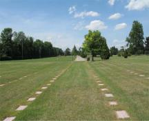 General view of the alignment of the headstones in the western section of the cemetery, 2005.; Catherine Cournoyer, Parks Canada Agency / Agence Parcs Canada, 2005.