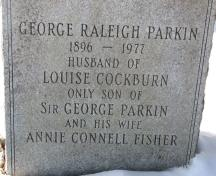 Tombstone of George Raleigh Parkin; Village of Salisbury