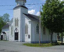 St. Norbert's Church, Old Town Lunenburg, front entrance and nave, 2004; Heritage Division, NS Dept. of Tourism, Culture and Heritage, 2004