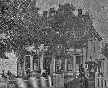 This photo was taken in 1907, while the property belonged to John L. Peck, who also owned the bank in Hillsborough; Village of Hillsborough from William Henry Steeves House Museum archives