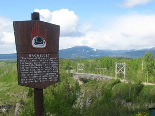 Hagwilget Bridge with interpretive sign, 2010