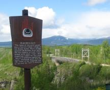 Hagwilget Bridge with sign in foreground; Kitimat-Stikine Regional District, 2010