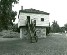 General view of the Blockhouse, showing its simple design and materials, 1989.; Department of Public Works / Ministère des Travaux publics, 1989.