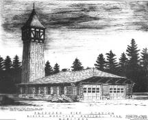 Sketch of the Riding Mountain National Park Firehall, 1935.; Parks Canada Agency / Agence Parcs Canada, 1935.