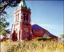 Exterior photo, south and west facades, St. Andrew's Church (The Kirk), Queen's Road, St. John's, Newfoundland.; HFNL 2005