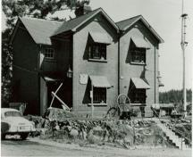 Corner view of the building, 1956.; British Columbia Archives and Records Services, 1956.