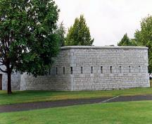 General view of RMC Building 30a, showing the regular, narrow defensive openings, 1993.; Parks Canada Agency / Agence Parcs Canada, 1993.