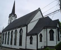 St. Andrew's Presbyterian Church, Old Town Lunenburg, rear facade, 2004; Heritage Division, NS Dept. of Tourism, Culture and Heritage, 2004