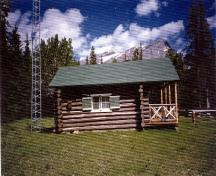 Side elevation of the Isaac Creek Warden Cabin, showing the horizontally laid, peeled log walls with saddle notching at the corners, 1996.; Parks Canada Agency / Agence Parcs Canada, 1996.