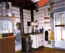 Interior view of the Isaac Creek Warden Cabin at Jasper National Park of Canada, 1996.; Parks Canada Agency / Agence Parcs Canada, 1996.