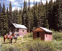 View of the Medicine Tent Warden Cabin adjacent to the Wood/Tack Shed, 1996.; Parks Canada Agency / Agence Parcs Canada, 1996.