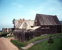 General view of the Port Royal Habitation showing the handmade, traditional method of construction throughout the entire structure and fittings and the spirit of historic veracity, 1990; Parks Canada Agency/Agence Parcs Canada, B. Pratt, 1990.