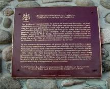 General view of the plaque erected by the Historic Sites and Monuments Board of Canada commemorating the location of the First Geodetic Survey Station.; Parks Canada Agency / Agence Parcs Canada, n.d.