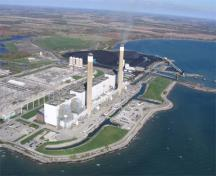 A contemporary aerial image of the Nanticoke site now home to the Nanticoke Generating Station, 2009.; Ontario Power Generation, 2009.