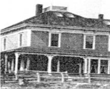 The Mansfield House circa 1910, showing traditional styling such as a widow's walk as well as modern conveniences such as skylights.; Village of Hillsborough from William Henry Steeves House archives