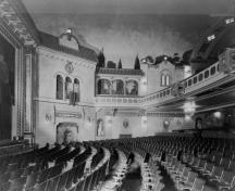 Interior decor of the auditorium characteristic of atmospheric cinema; Parks Canada