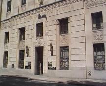 Main entrance on Hollis Street showing decorative sandstone carvings, Bank of Nova Scotia Building, Halifax, 1997.; HRM Planning and Development Services, Heritage Property Program, 1997.