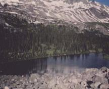 "General view of the Athabasca Pass showing the small lake at the top of the pass called ""the Committee's Bunchbowl"", 1998.; Jack Porter, Parks Canada Agency / Agence Parcs Canada, 1998."